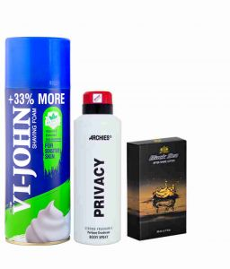 Archies Deo Privacy & Vijohn Shave Foam 400gm For Sensitive Skin & After Shave Black Sea-(code-vj800)