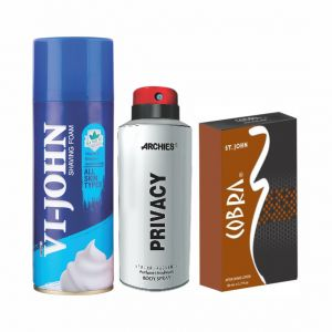 Archies Deo Privacy & Vijohn Shave Foam 400gm For All Type Of Skin & After Shave Cobra-(code-vj813)