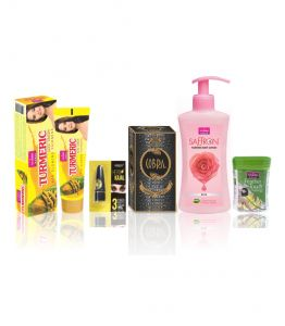 Globus,Garnier,Vaseline,Davidoff,Vi John Personal Care & Beauty - VI-JOHN Women Beauty Kit  (Turmeric Cream 50GM, Perfume Cobra 60ml, Body Lotion Rose160 ml, Kajal 2.5, Hair Removal Cream Lime 40GM)