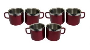 Stainless Steel Double Wall Set Of 6 Maroon Cups