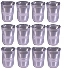 Dynamic Store Square Shape Drinking Glass Set Of 12 With Middle Lines - Ds_292