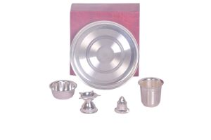 Dynamic Store 5 PCs Silver Coated Small Puja Set - Ds_301