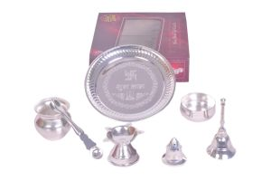 Dynamic Store 7 PCs Silver Coated Puja Set - Ds_302