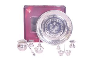 Dynamic Store 9 PCs Silver Coated Puja Set - Ds_303