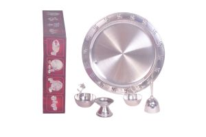 Dynamic Store 5 PCs Silver Coated Puja Set - Ds_304