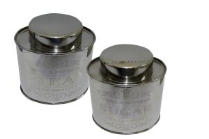 Dynamic Store Oval Crome Tea & Sugar Canister - Ds_368