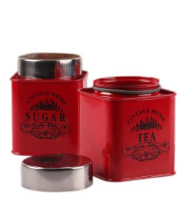 Vibrant Red Color Square Tea & Sugar Canister
