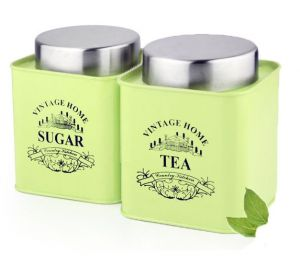 Vibrant Green Color Square Tea & Sugar Canister