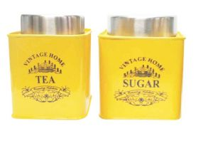Dynamic Store Yellow Square Half Deck Tea & Sugar Canister - Ds_378
