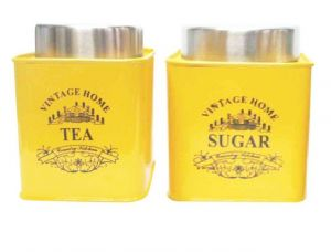 Vibrant Yellow Color Square Tea & Sugar Canister