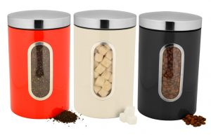 Dynamic Store Set Of 3 Color Coated Side Window With Click Lock Canisters - Ds_387