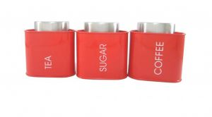 Dynamic Store Red Triangular Tea, Coffee & Sugar Canister - Ds_391