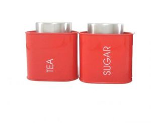 Dynamic Store Red Triangular Tea & Sugar Canister - Ds_392