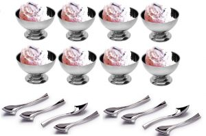 Dynamic Store 16 Piece Set Of Ice-cream Cups With Ice Cream Spoon - 8 Piece Each - Ds_73
