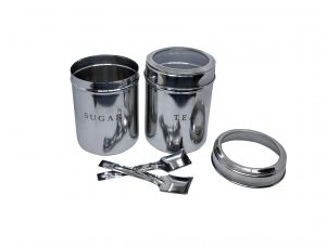 Set Of 2 Tea And Sugar See Through Canisters Lids With Spoons