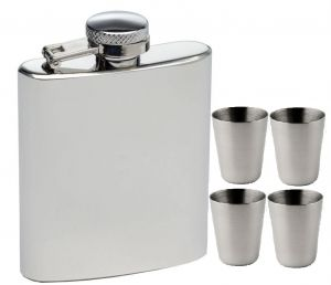 Dynamic Store Hip Flask 8 Oz With 4 Shot Glasses - Ds_93