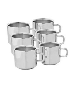 Crockery - Boskina Stainless Steel Tea & Coffee Double Wall Cup Set-pack Of 6 PCs