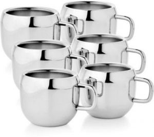 Crockery - Boskina Stainless Steel Tea & Coffee Apple Shape Cup Set-pack Of 6 PCs
