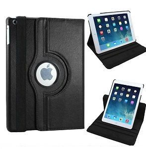 Pu Leather Full 360 Degree Rotating Flip Book Case Cover Stand For Ipad Air 5 (black)