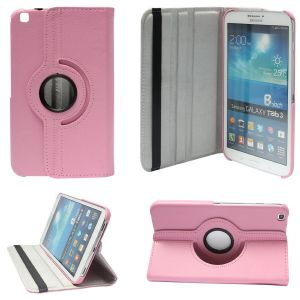 Tablet Accessories - PU Leather Full 360 Rotating Flip Book Cover Case Stand for Samsung Galaxy Tab 3 T311 (Light Pink)