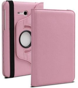 Pu Leather 360 Deg Rotatable Leather Flip Case Cover For Samsung Tab 3 Neo T111 T110 Tablet (light Pink)