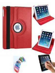 Pu Leather Full 360 Degree Rotating Flip Book Case Cover Stand For Ipad Air 5 (red) With Matte Screen Guard And Wrist Band