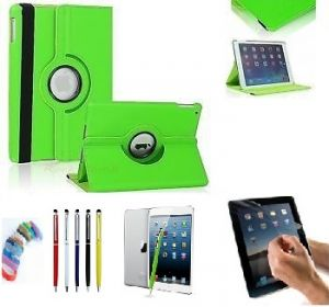 Pu Leather 360 Degree Rotating Leather Case Cover Stand (green) For Ipad Mini 2 Retina With Matte Screen Guard, Stylus And Wrist Band