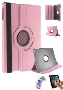 Pu Leather 360 Deg Rotatable Leather Flip Case Cover For Samsung Tab 3 Neo T111 T110 Tablet (light Pink) With Matte Screen Guard And Wrist Band