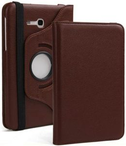Pu Leather 360 Deg Rotatable Leather Flip Case Cover For Samsung Tab 3 Neo T111 T110 Tablet (brown)