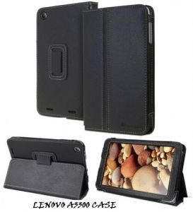 Pu Leather Flip Book Case Cover Stand For Lenovo A3300 Ideatab (black)
