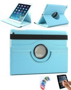 Pu Leather Full 360 Degree Rotating Flip Book Case Cover Stand For Ipad 4 Ipad 3 Ipad 2 (sky Blue) With Matte Screen Guard And Wrist Band