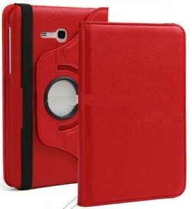 Tablet Stands - PU Leather 360 Deg Rotatable Leather Flip Case Cover For Samsung Tab 3 Neo T111 T110 Tablet (Red)
