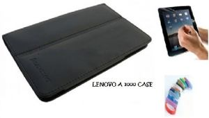 Pu Leather Flip Book Case Cover Stand For Lenovo A3300 Ideatab (black) With Matte Screen Guard, Stylus And Wrist Band