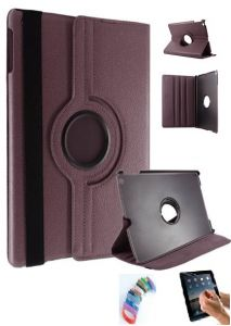 Pu Leather Full 360 Degree Rotating Flip Book Case Cover Stand For Ipad 4 Ipad 3 Ipad 2 (brown) With Matte Screen Guard And Wrist Band