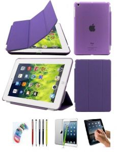 Ultra Thin Magnetic Smart Case Clear Back Cover Stand For Apple Ipad Mini 2 Retina (purple) With Matte Screen Guard, Stylus And Wrist Band
