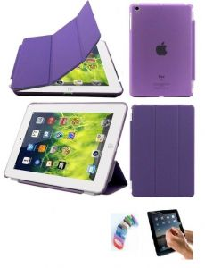 Ultra Thin Magnetic Smart Case Clear Back Cover Stand For Apple Ipad Mini 2 Retina (purple) With Matte Screen Guard And Wrist Band