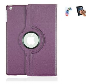 Pu Leather 360 Degree Rotating Leather Case Cover Stand (violet) For Ipad Mini 2 Retina With Matte Screen Guard And Wrist Band