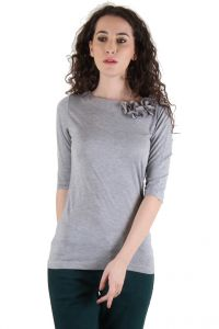 Chimera Grey Half Sleeve Solid 100% Cotton Round Neck T Shirt For Women Chc1101agry