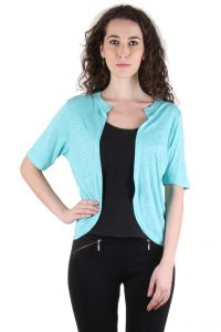 Chimera Light Blue Half Sleeve Solid Viscose Jacket For Women