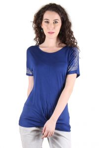 Chimera Royal Blue Half Sleeve Solid Viscose Round Neck T Shirt For Women Chc1105arbl