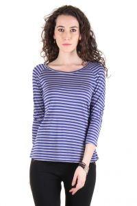 Chimera Blue Striped Viscose Round Neck T Shirt For Women Chc1106ablu