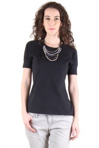 Chimera Black Half Sleeve Solid 100% Cotton Round Neck T Shirt For Women Chc1109bblk