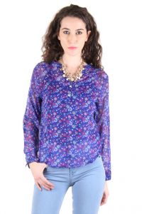 Chimera Blue Full Sleeve Printed Polyester V-neck Top For Women