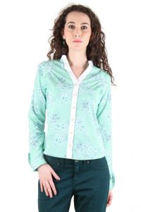 Chimera Light Green Full Sleeves Printed 100% Cotton Shirt For Women