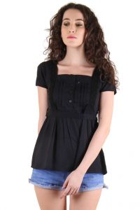 CHIMERA Black Short Sleeve Solid 100% Cotton Square Neck Top For Women