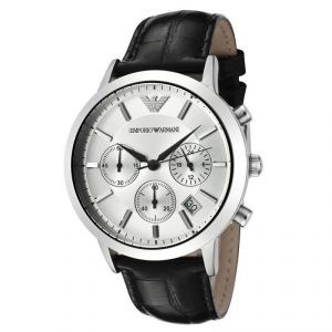 Armani Men's Watches   Leather Belt   Analog - Armani Round White Leather Watch For Men_code-ar2432