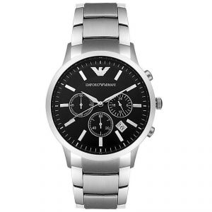 Armani Round Black Metal Watch For Men_code-ar2434