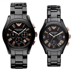 Imported Emporio Armani Ar1410-ar1411 Couple Watches, Black Ceramic Pair