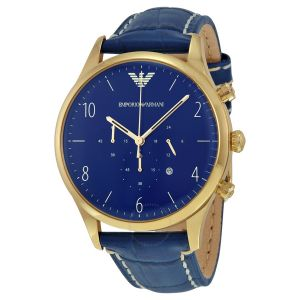 Imported Emporio Armani Ar-1862 Chronograph Blue Dial Blue Leather Men