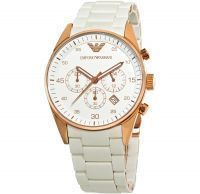 Imported Emporio Armani Ar5919 Gents White With Rose Gold Sportivo Watch